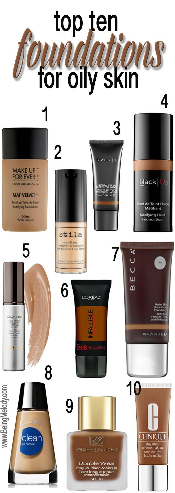 www.beingmelody.com | Top Ten Foundations for Oily Skin | http://www.beingmelody.com