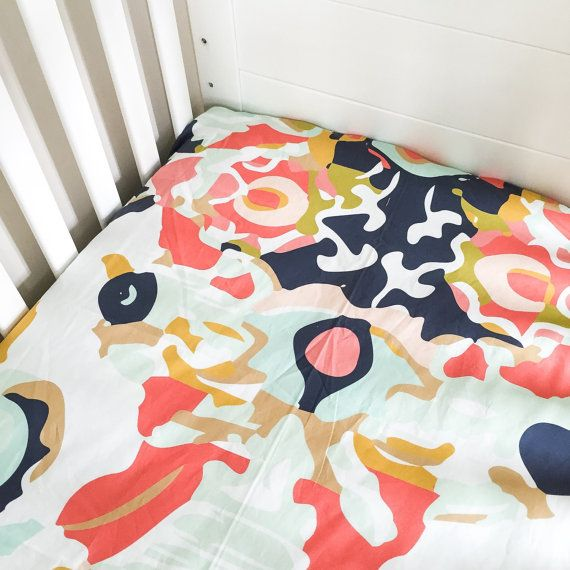 Fitted Crib Sheet Coral Jubilee- Coral Crib Sheet- Floral Crib Sheet- Navy Crib Sheet- Baby Bedding- Coral Crib Bedding- Organic Sheet- Baby