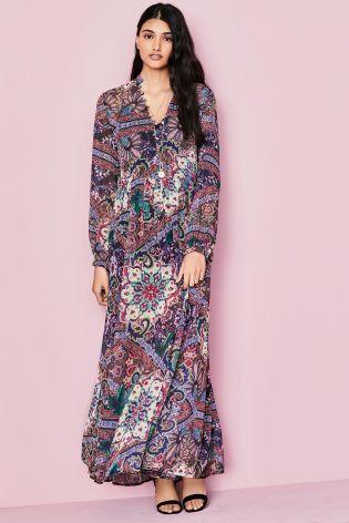Multi Print Boho Maxi Dress