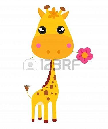 Baby giraffe en bloem illustratie Stockfoto - 15821834