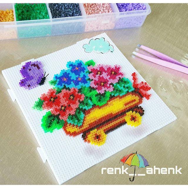 Flowers hama mini beads by renk__ahenk