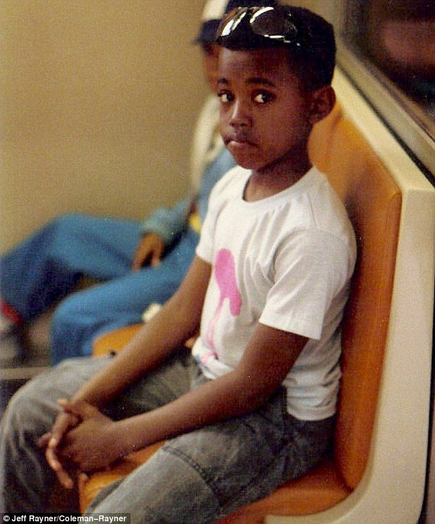 Back in the day: Kanye West is pictured at the young age of nine while enjoying a ride on ...