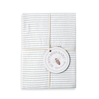 Burt's Bees Baby™ Bee Essentials Stripe 100% Organic Cotton Fitted Crib Sheet in Grey - BedBathandBeyond.com