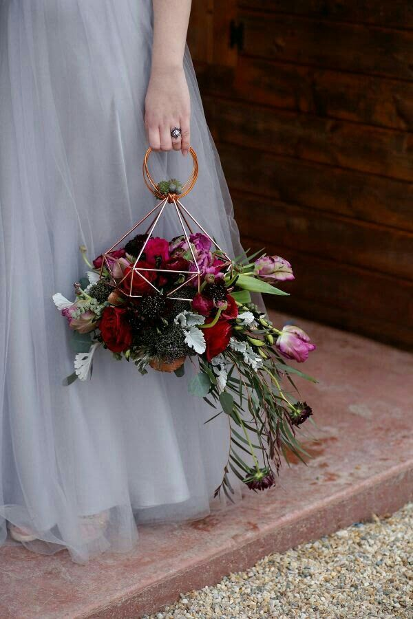 "Bridesmaid's Very Unique ""Lantern"" Bouquet Featuring: Reds, Red-Violet, Purple, Sangria & Burgundy Fresh Florals & Foliages>>>>"