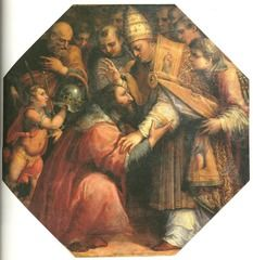 Giorgio Vasari, Meeting of Francis I and Pope Leo X at Bologna, Sala di Leone X, Palazzo Vecchio, Florence, (c. 1560). This meeting took place in 1515, the year Francis I became King, and he took the opportunity to ask the Pope Leo X (Giovanni de' Medici) for the Laocoön (the Pope refused)