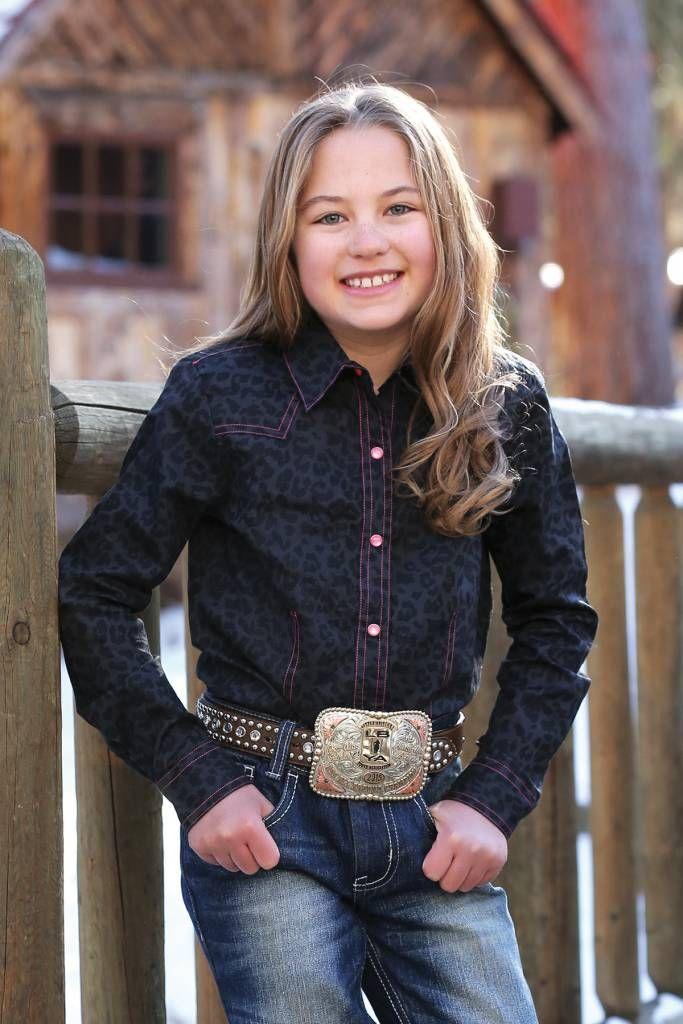 Cruel Girl Youth Black Leopard Western Dress Shirt
