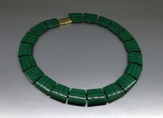 Malachite statement necklace / collier with gold elements - gift idea by gemorydesign. Explore more products on http://gemorydesign.etsy.com