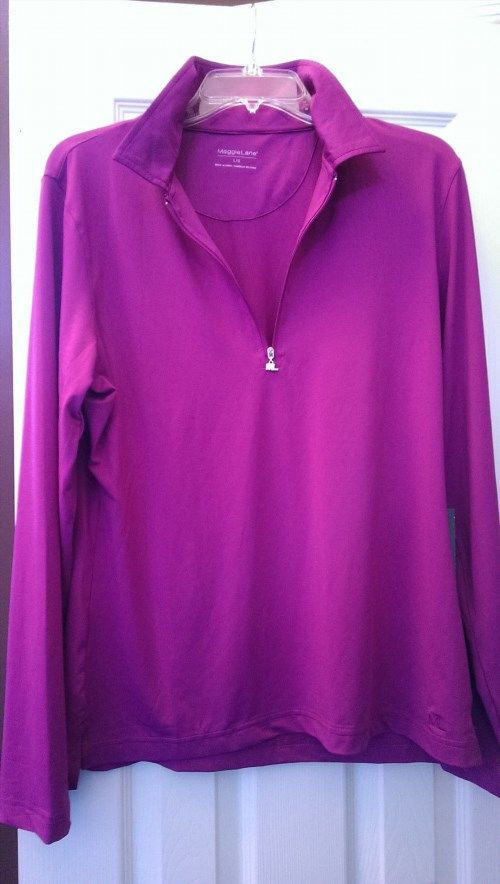 34.99$  Buy here - http://viwxe.justgood.pw/vig/item.php?t=oyjz5711331 - NWT Ladies MAGGIE LANE Magenta Long Sleeve Pullover Golf Shirt size L Golfsmith 34.99$