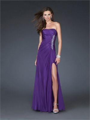 Strapless Straight Neckline Chiffon with Beadings Floor Length Chiffon Prom Dress PD10941 www.dresseshouse.co.uk $116.0000