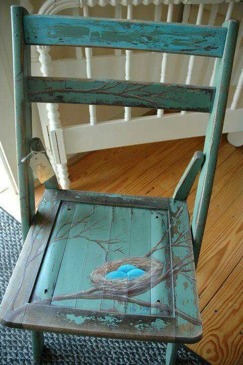 Old Chair Upcycled With Hand Painted Design Featuring A Robins Nest Bright Blue Eggs