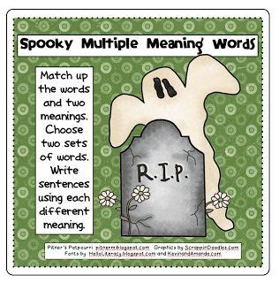 Spooky Multiple Meaning Words -- Freebie! - Pitners Potpourri