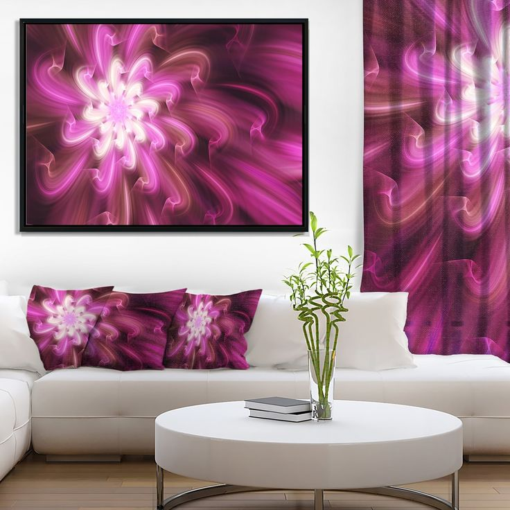 Designart 'Exotic Dance of Purple Flower Petals' Floral Framed Canvas Art Print