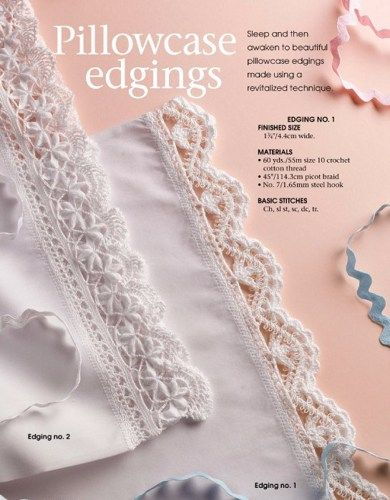 W714 Crochet PATTERN ONLY 2 Lacy Pillowcase Edging Patterns