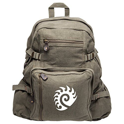 Starcraft Zerg Heavyweight Canvas Backpack Bag in Olive Large *** This is an Amazon Affiliate link. Click on the image for additional details.