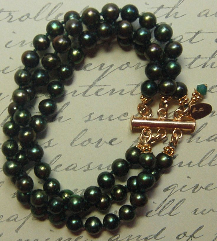 A personal favorite from my Etsy shop https://www.etsy.com/listing/243217102/hand-knotted-3-strand-dark-warm-green