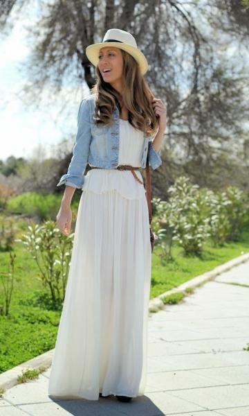 Look Jaqueta Jeans + Saia Longa