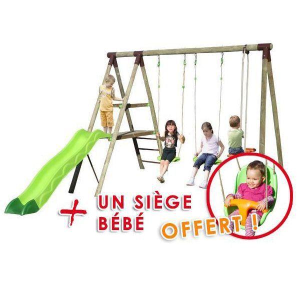 Station de jeux bois TRIGANO 2,50 m. + Toboggan 5 enfants : 1 siège bébé offert