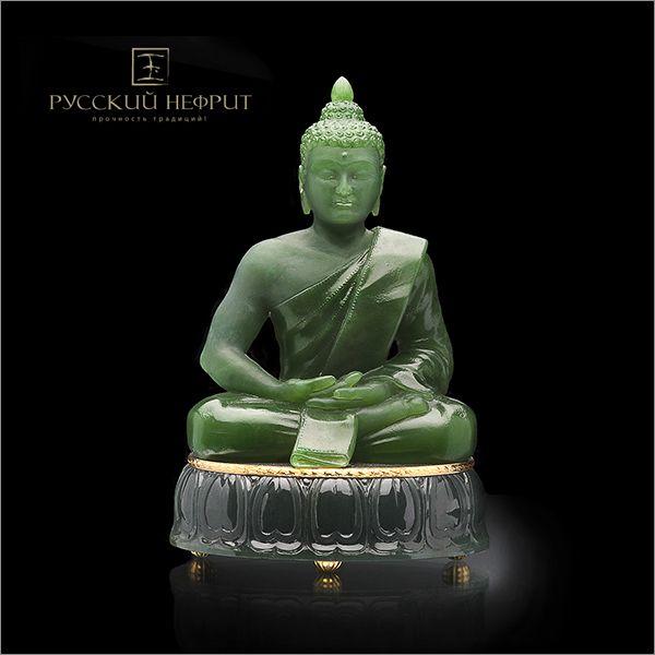 Будда. Зелёный нефрит. Buddha. Green russian jade.