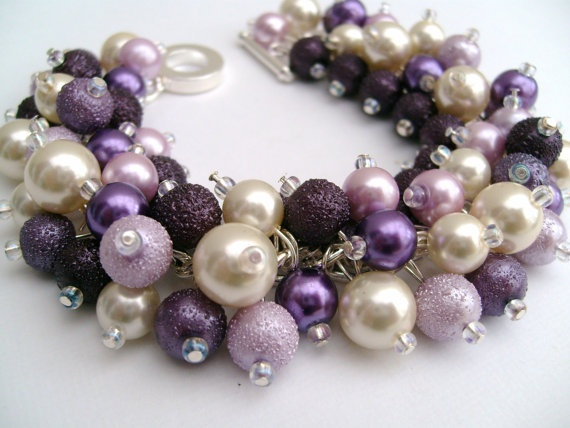 Bridesmaid Jewelry Wedding Purple Ivory and Plum by KIMMSMITH, $19.00