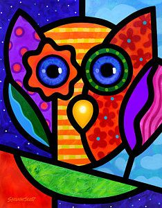 Abstract Owl Painting - Garden Owl by Steven Scott