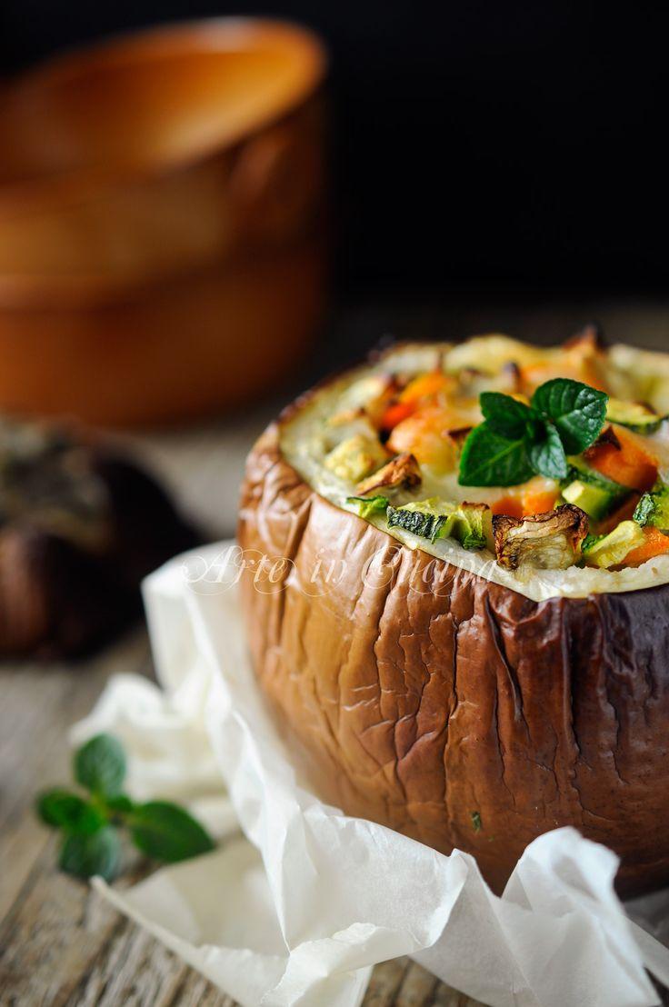 Melanzane tonde ripiene con verdure ricetta leggera vickyart arte in cucina