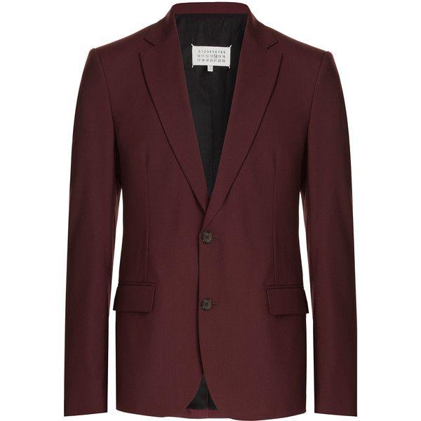 Maison Margiela Wool Blazer (€685) ❤ liked on Polyvore featuring men's fashion, men's clothing, men's sportcoats, men, red, mens blazer jacket, mens red blazer, mens clothing, mens fitted blazer and mens blazers