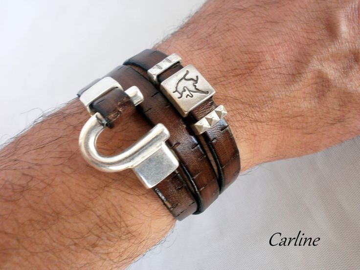 Bracelet Homme Cuirs Marron Brun Taureau Fermoir Tendance U Original Sur mesures