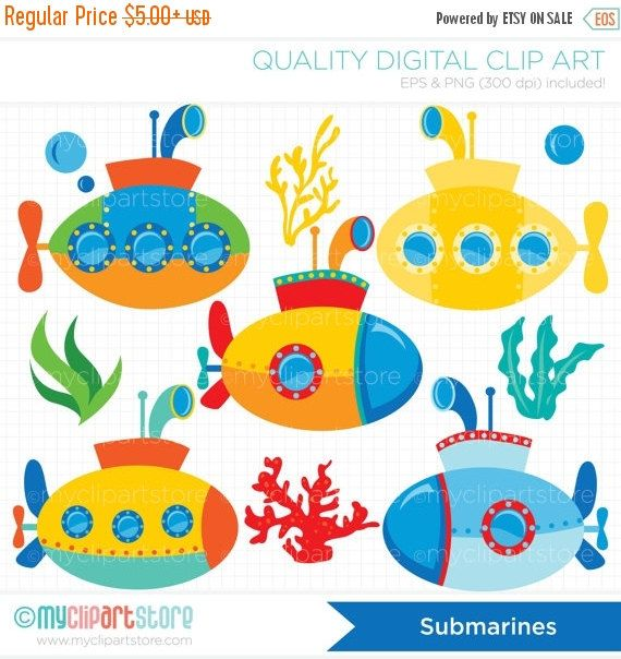ON SALE - Submarine / Under The Sea / U-boat Clip Art / Digital Clipart - Instant Download