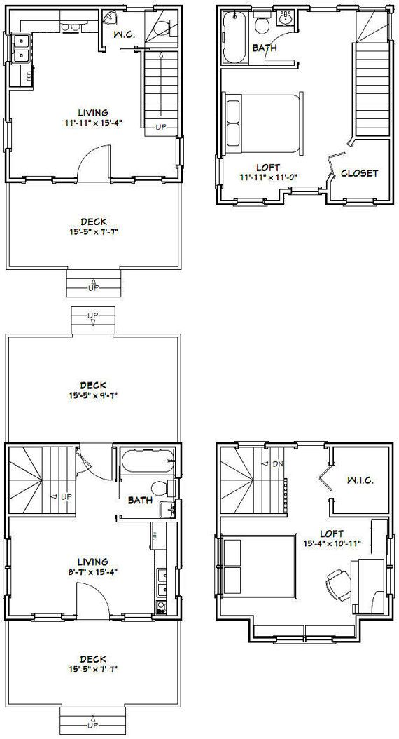 16x16 1bedroom Tiny Homes Pdf Floor Plans By