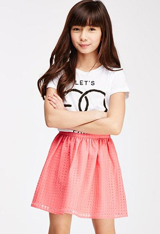 Organza Windowpane Skirt (Kids) | FOREVER21 girls - 2052287937