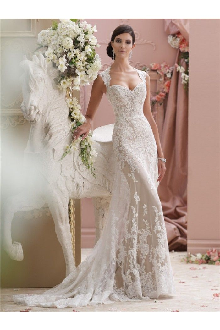Sexy Mermaid Sweetheart Cap Sleeve Keyhole Open Back Lace Champagne Wedding Dress