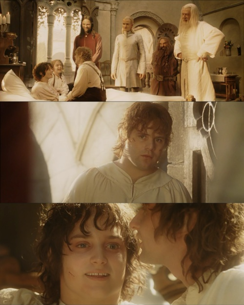 when sam and frodo looks at each other and the enthusiasm of merry and pippin just makes me want to cry again.