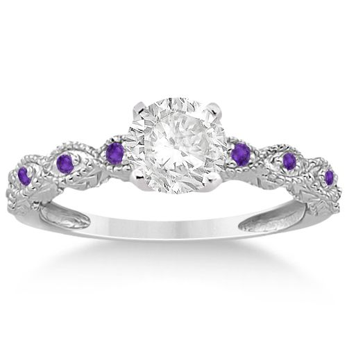 Vintage Marquise Amethyst Engagement Ring 14k White Gold 018ct Allurez