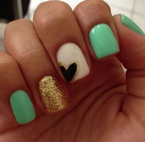 I love these turquoise, gold sparkle, white and black heart nails!!!!!!