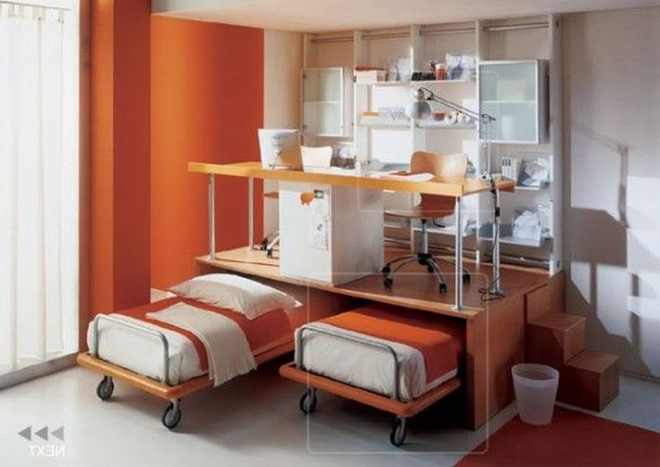 Double Desk Home Office With Creative Orange Ikea Adjustable Twin Double  Bed Set With Over Minimalist Desk And Wall Mounted White Mdf Book Shelves U2026