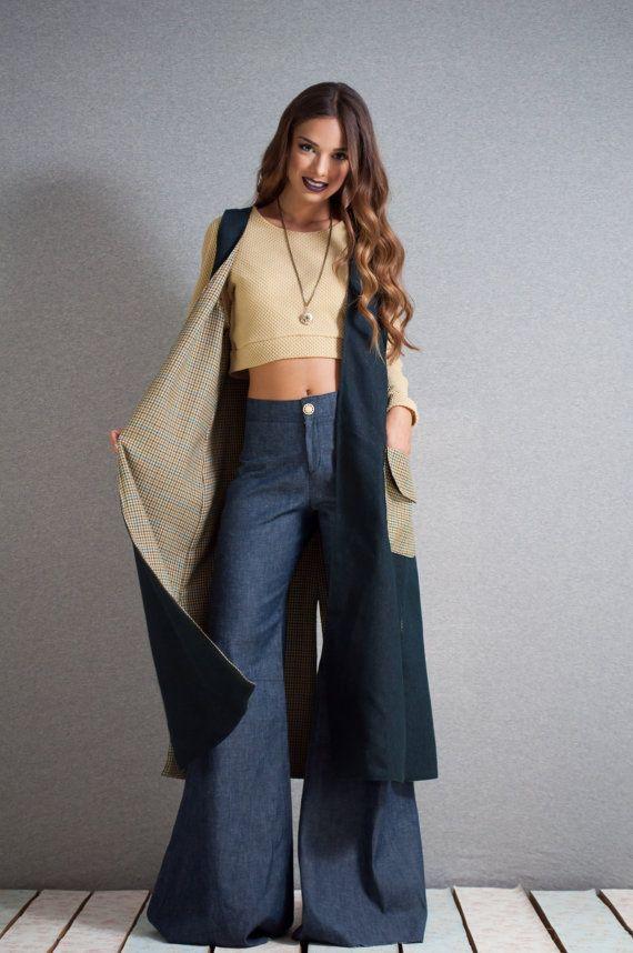 Long Vest jean long vest oversized pockets by LeMoutonBleuShop