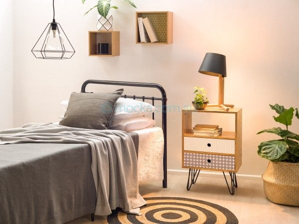 Mocka Sonata Bed - black with Vibe Gap Drawers, Vibe Boxes and Circa Rug