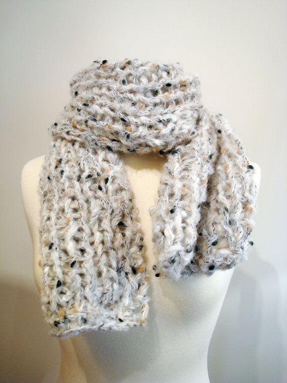 Handmade knitted chunky, warm, earth colored, scarf, shawl.