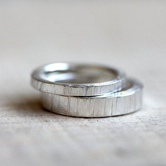 Tree bark wedding ring set by PraxisJewelry on Etsy
