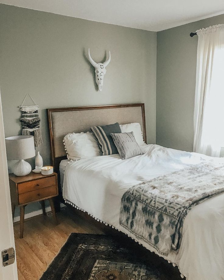 Bohemian Bedroom, #UOhome, Urban Outfitters Bedding, Green Paint, West Elm  Bedside