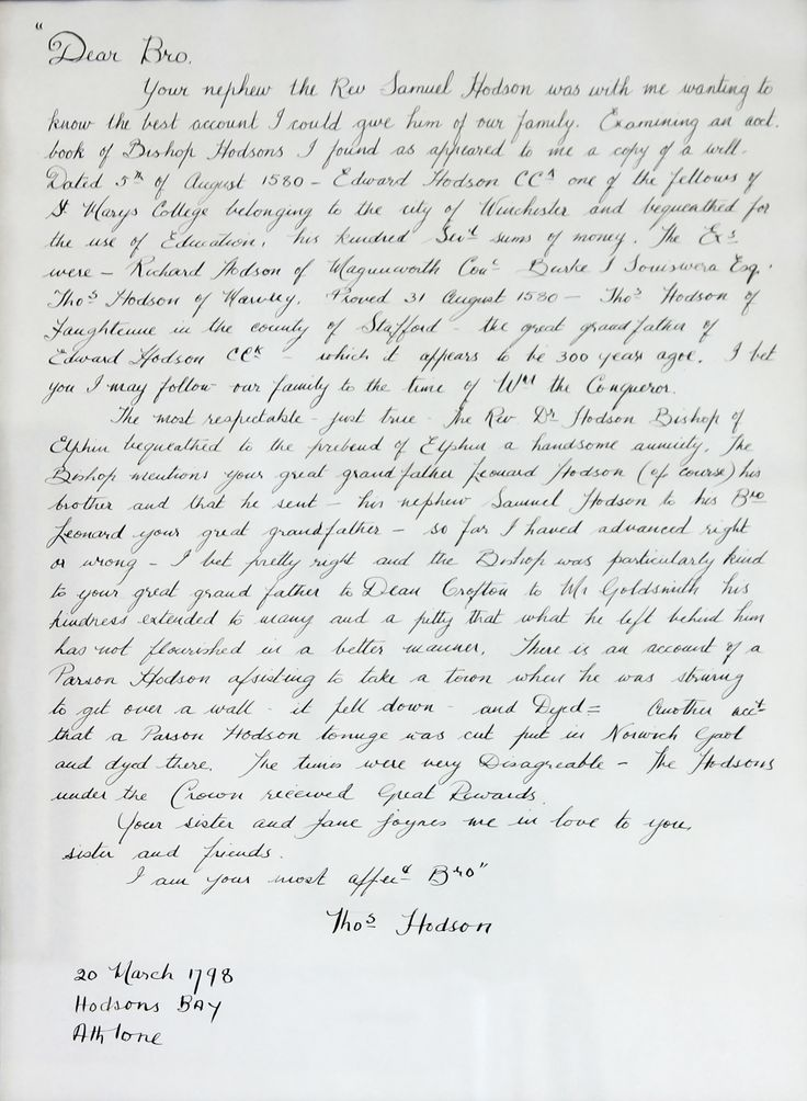 A letter written to Edward Hodson, 20th March 1798