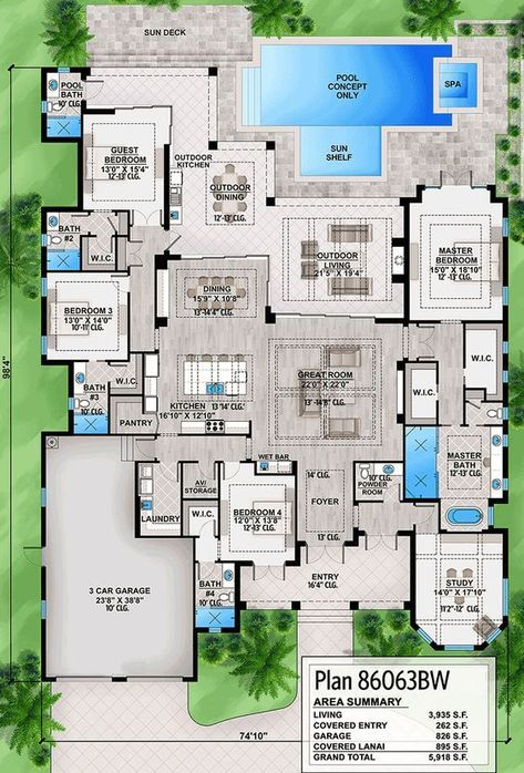 Plan 86063BW: Southern House Plan With Indoor Outdoor Living Spaces In 2019  | Home Plans | House Plans, Southern House Plans, House Design