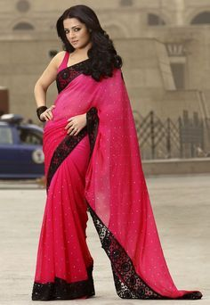 Beautiful pink sari would look amazing with a black blouse