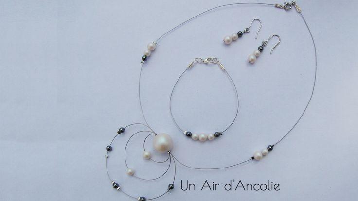 Parure Mariage 3 pièces - Collier, Bracelet, Boucles d'Oreille - Perles Nacrées Cristal Swarovski - Blanc, Gris : Parure par ancolie