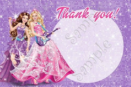 Barbie Princess and the Pop star birthday party Invitation, FREE thank you card