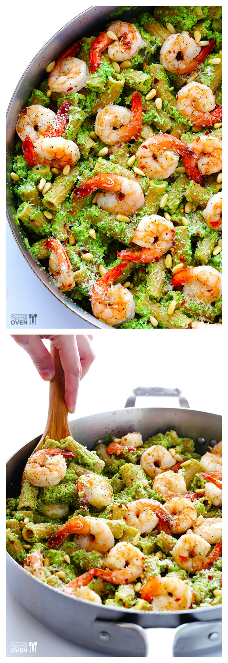 Shrimp Pasta with Broccoli Pesto ~ who knew that broccoli tasted so good in a pesto?! | gimmesomeoven.com