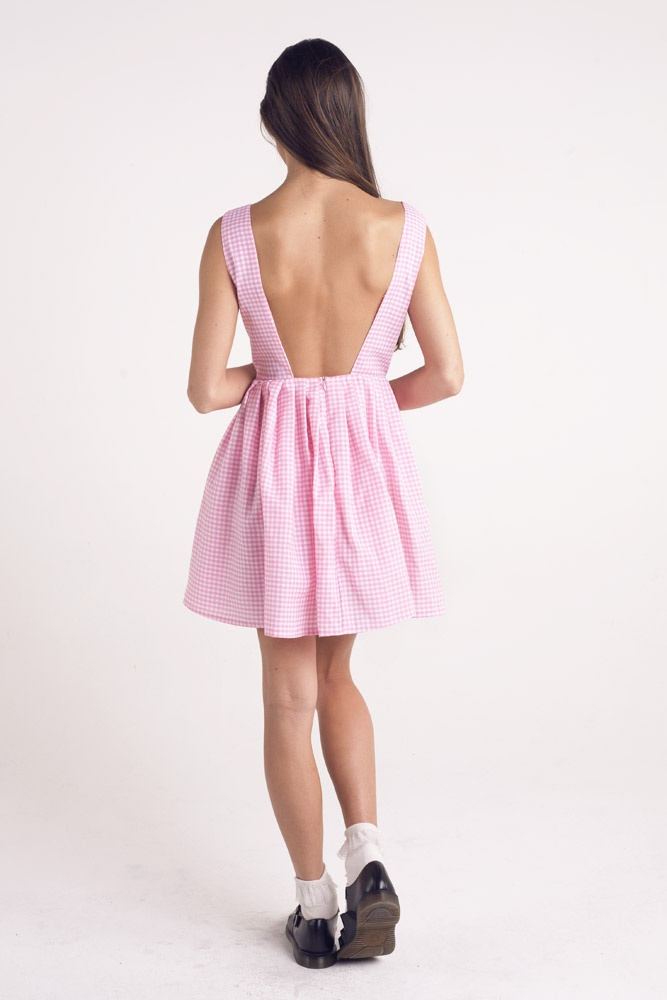 Betsy pink gingham backless dress. Sold Out