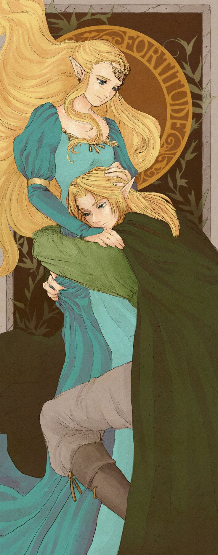 Princess Zelda and Link art nouveau. I like how Link has long hair :3