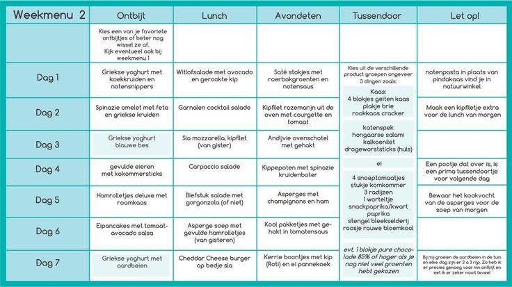 Weekschema 2 koolhydraatarm menu