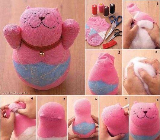 Návod na výrobu hračky ve tvaru kočky